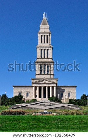 Front View of George Washington Masonic National Memorial in Alexandria, Virginia, USA. - stock photo