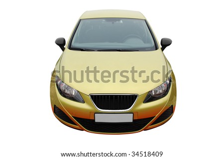 front view of gold car isolated - stock photo