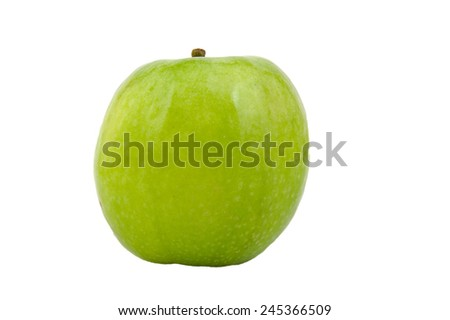 Front view of Granny Smith green apple isolated on white - stock photo
