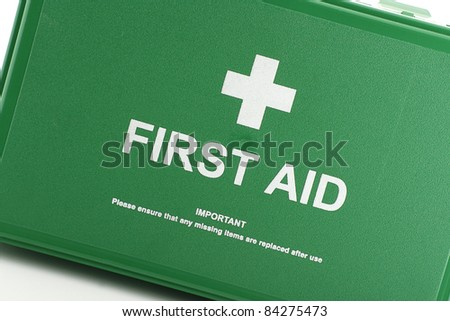 front view of green first aid box - stock photo