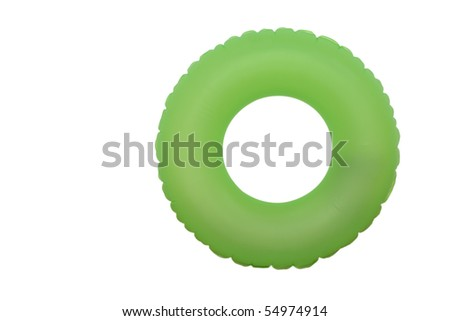 front view of green rubber ring for swimming pool - stock photo