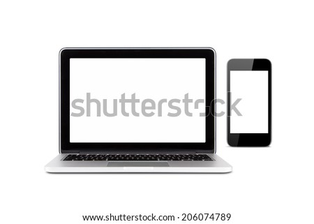 Front view of high quality laptop and smart phone with blank, empty screens for your design, isolated on white background. - stock photo