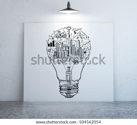 front view interior creative business sketch stock illustration