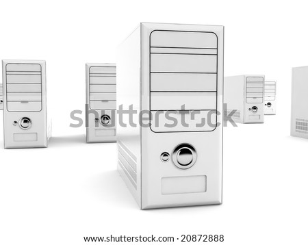 front view of isolated three dimensional rendered white cpu - stock photo