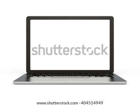 Front view of laptop computer with blank screen. 3D rendering image with clipping path. - stock photo
