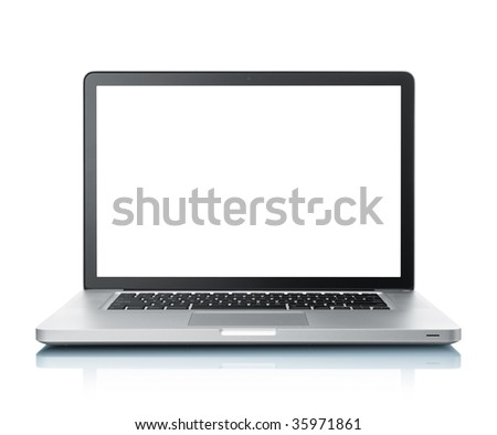 front view of laptop with blank monitor