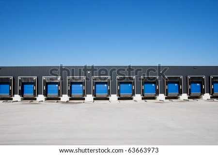 Front view of loading docks - stock photo