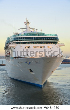 front view of luxury cruise ship - stock photo