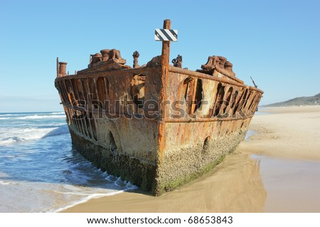 Front view of Maheno shipwreck on Frazer Island, Australia - stock photo