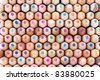 Front view of many colored wooden pencils - stock photo