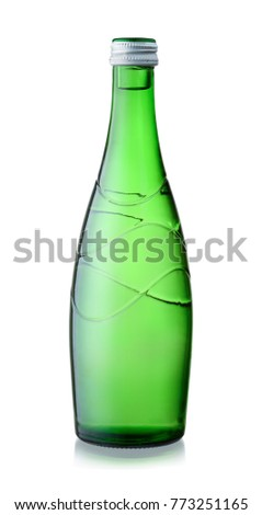Front view of  mineral water glass bottle isolated on white