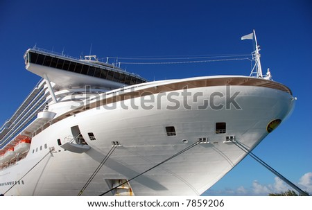 Front view of modern cruise liner - stock photo