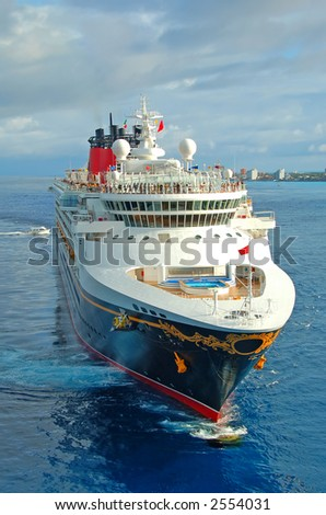 Front view of modern cruise ship. Unforgettable vacation. - stock photo