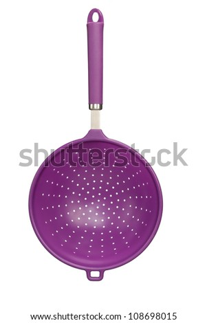 front view of modern plastic strainer isolated on white - stock photo