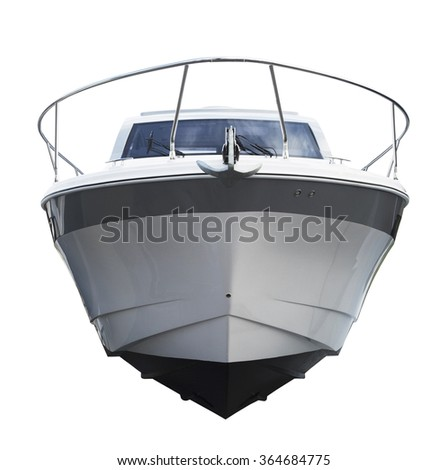 Front view of motor boat. Isolated over white background - stock photo