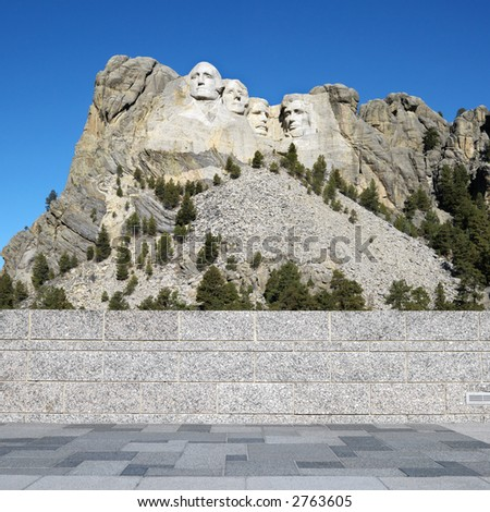 Front view of Mount Rushmore National Memorial from observation station. - stock photo