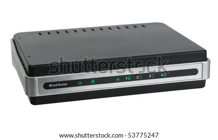Front view of network wired router. Close-up. Isolated on white background. Studio photography.