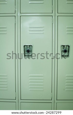 Front view of new school lockers. - stock photo