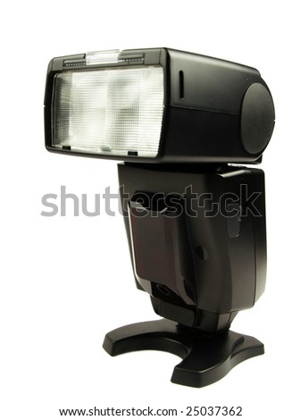Front view of off camera flash on white