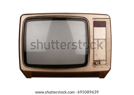 front view of old home TV set receiver isolated on white background with blank screen