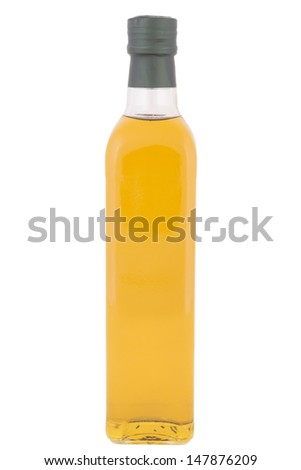 Front view of olive oil glass bottle. Isolated on white background. Clean space for example label. - stock photo