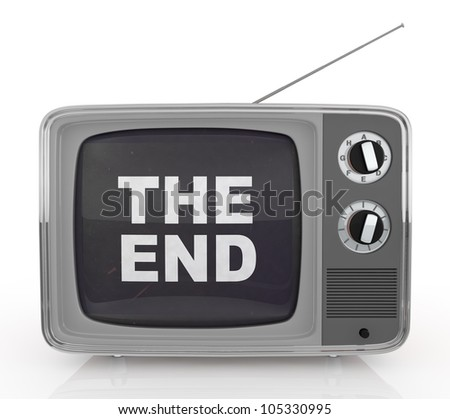 front view of one vintage tv with text: the end, on screen (3d render)