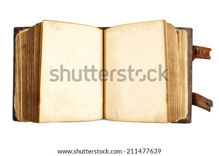 Front view of open ancient book with blank pages isolated on white - stock photo