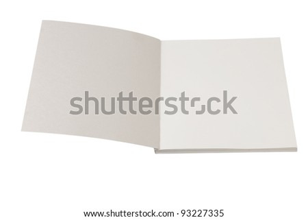 front view of open book on white background - stock photo