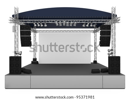Front view of outdoor gig stage. 3D render. - stock photo