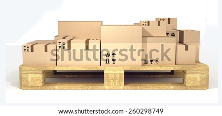 Front view of package boxes crate on an euro pallet.  - stock photo