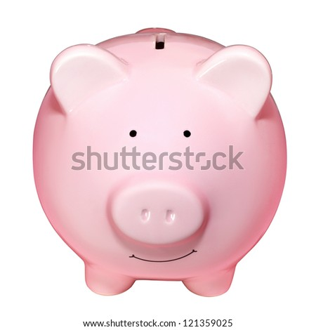 Front view of pink piggy bank isolated on white background - stock photo