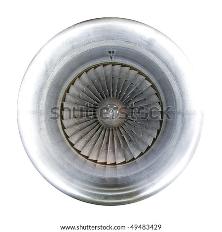 Front view of powerful jet engine turbine - stock photo