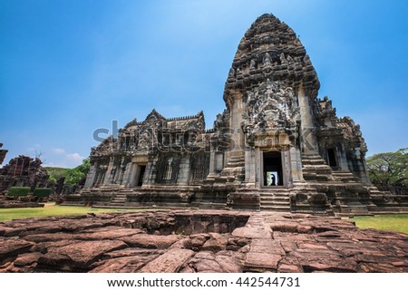 Front view of Prasat Hin Rock castle in Phimai Historical Park Nakonratchasima