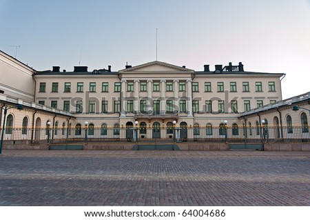 Front view of Presidential Palace in Helsinki, Finland. - stock photo