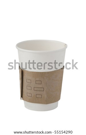 front view of recycling paper glass on white background - stock photo