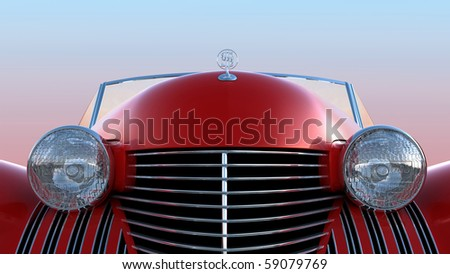 Front view of red retro car over blue sky background - stock photo