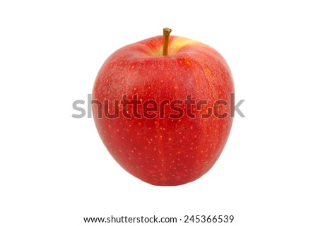 Front view of Red Royal Gala apple isolated on white - stock photo