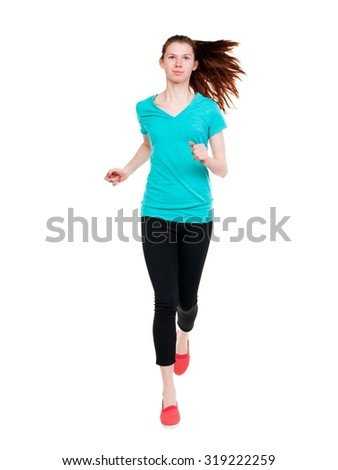 front  view of running sport woman. beautiful girl in motion.  Sport girl in black tights with runs flowing hair. - stock photo