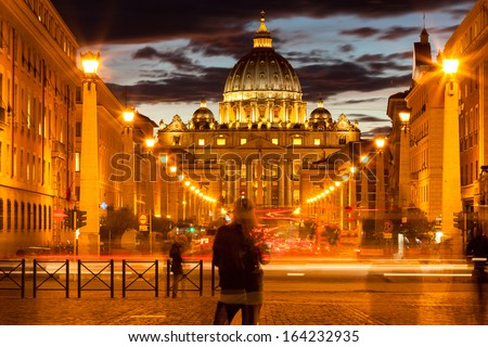 Front View of Saint Peter's Basilica by night,Vatican - stock photo