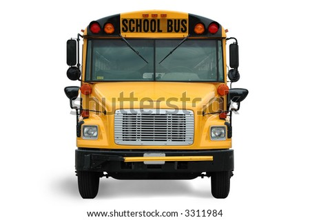 Front view of school bus against white background - stock photo