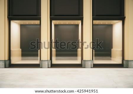 Front view of shop exterior design with glass showcase. Mock up, 3D Rendering - stock photo