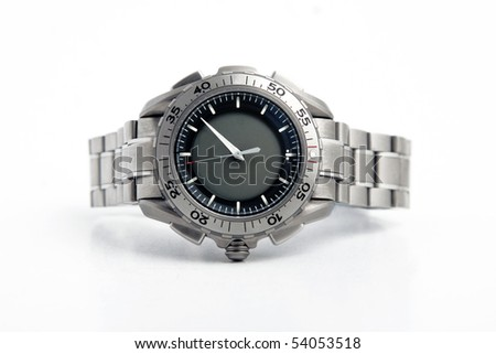 front view of silver watch on white background - stock photo