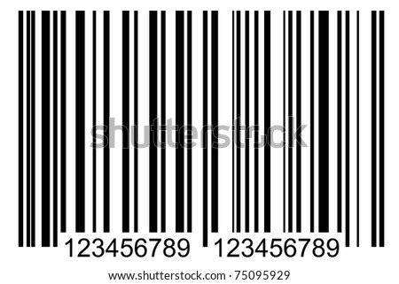 front view of simple black barcode, tag for products - stock photo