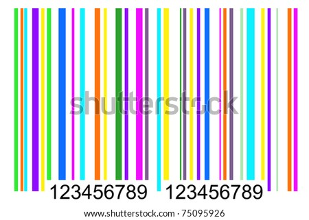 front view of simple colored barcode, tag for products - stock photo