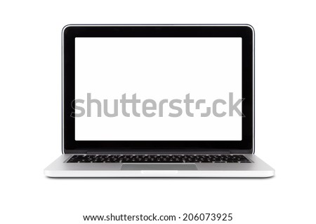 Front view of single clean laptop mock up with blank, empty screen, isolated on white background. - stock photo