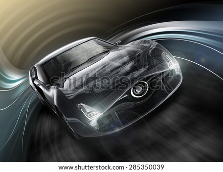 Front view of sports car with dynamic graphic motion blur and wire frame effects. Original design with clipping path. - stock photo