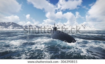 Front view of surfaced ballistic missile submarine Borei at northern waters. Realistic 3D illustration was done from my own 3D rendering file. - stock photo