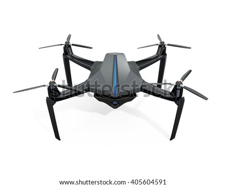 Front view of surveillance drone isolated on white background. 3D rendering image with clipping path.  Original design.  - stock photo