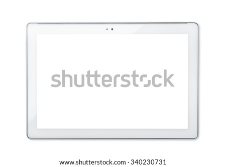 Front view of tablet PC isolated on white - stock photo