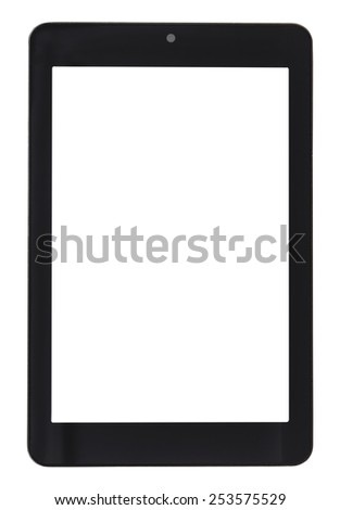 front view of tablet pc with cut out screen isolated on white background - stock photo
